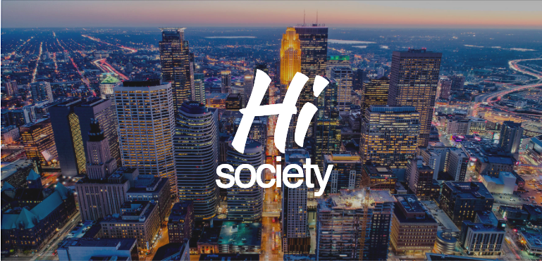 Hi Society logo above Minneapolis downtown skyline