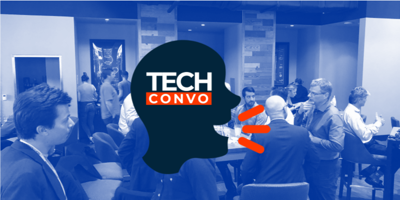 TECHconvo logo over people in discussion in a social setting