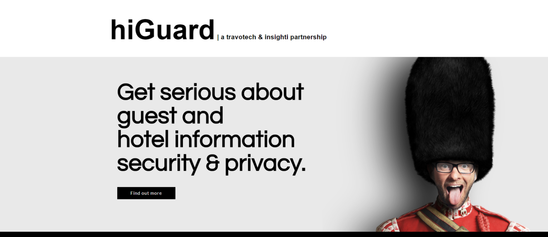 hiGuard landing page with Coldstream Guard in a humouress pose.